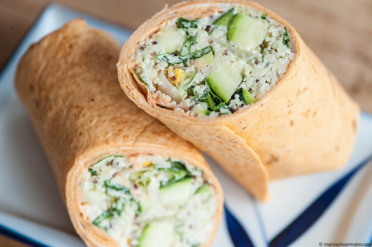 <h5>Couscous-Wrap mit frischem Gemüse und Cocktailsauce</h5>