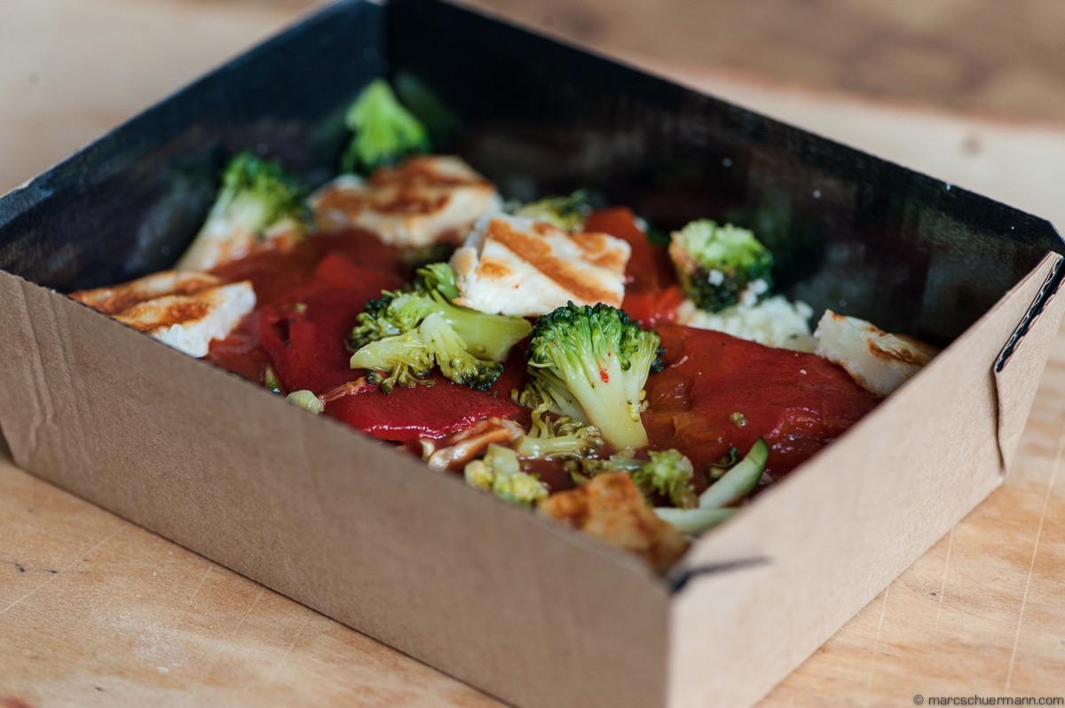 <h5>Couscous mit Haloumi und Gemüse und Sauce</h5>